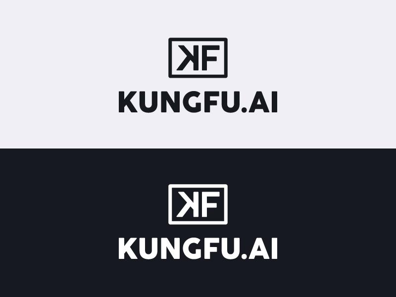 Kungfu.AI Lockup branding agency kungfu artificial intelligence lockup logo black and white branding