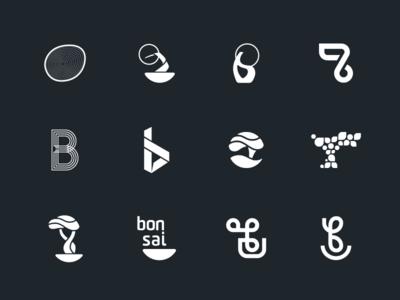 Bonsai Explorations concepts ideas letter b rejected rejects explorations solid white black identity branding tree bonsai logomark symbol icon mark logos logo
