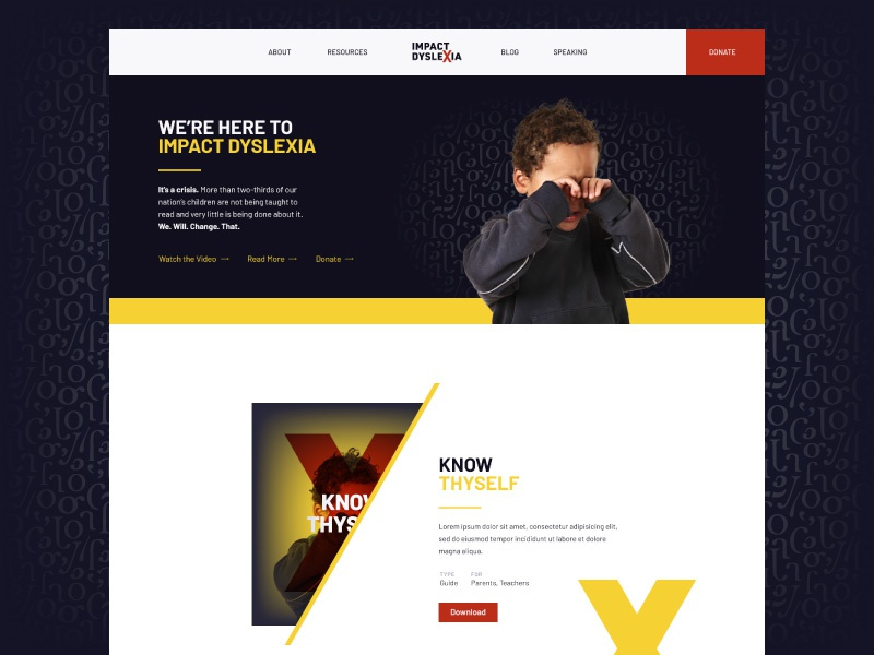 Impact Dyslexia Homepage yellow marketing disability brand black hero homepage website branding dyslexia