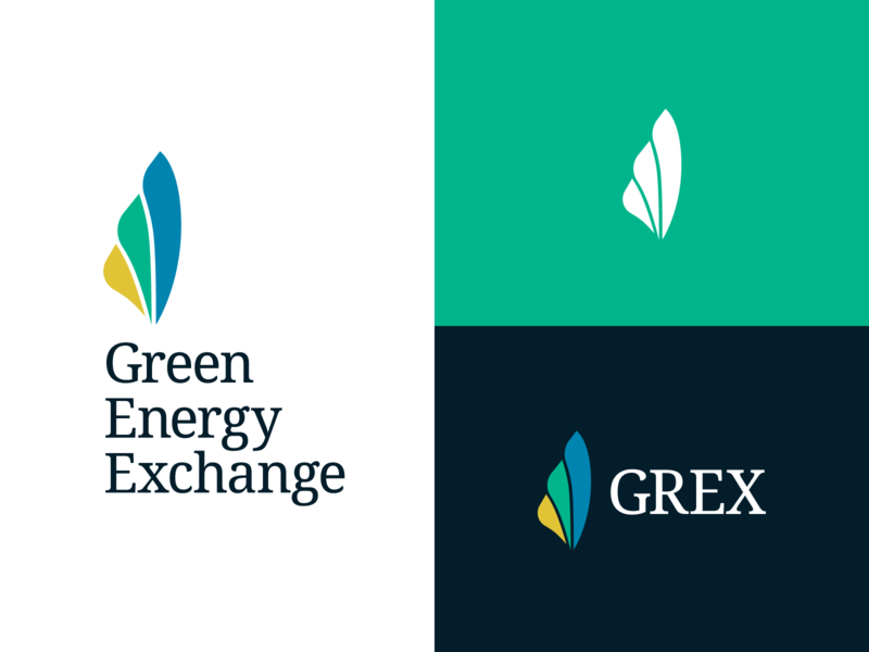 GEX Logo — Round 1 serif blades turbine environment green energy energy growth organic logomark green yellow blue icon logo branding