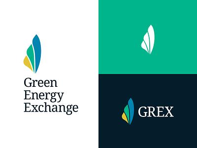 GEX Logo — Round 1 serif blades turbine environment green energy energy growth organic logomark green yellow blue icon logo branding