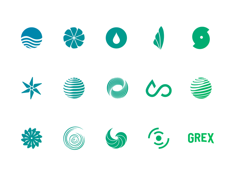 Logo Explorations wave earth globe natural round pattern energy wind water hurricane turbine windmill explorations gradient green logomark icon blue logo branding