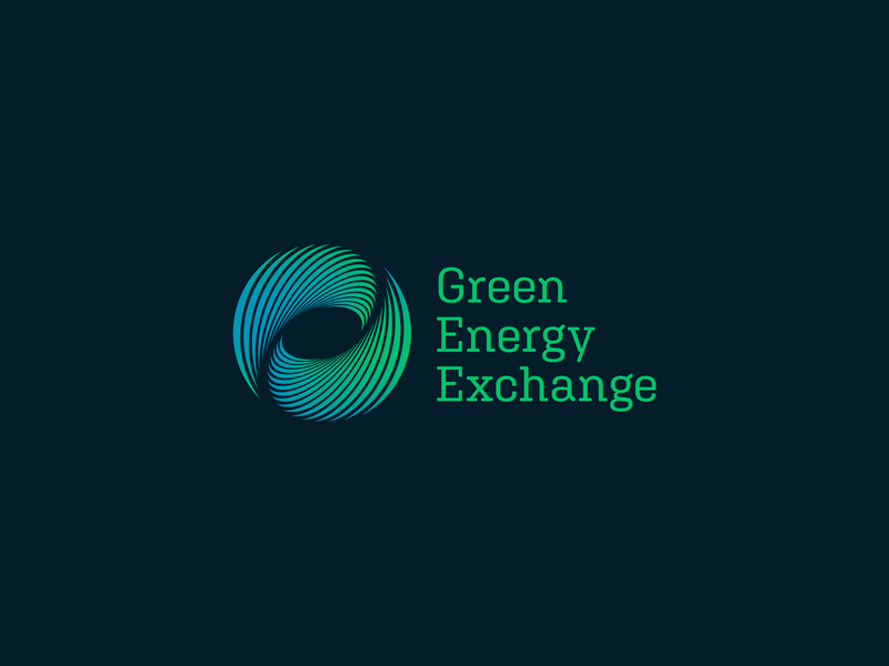 GEX Logo gradient round natural logomark hurricane mark icon branding brand water wind waves geometric modern black blue logo energy green