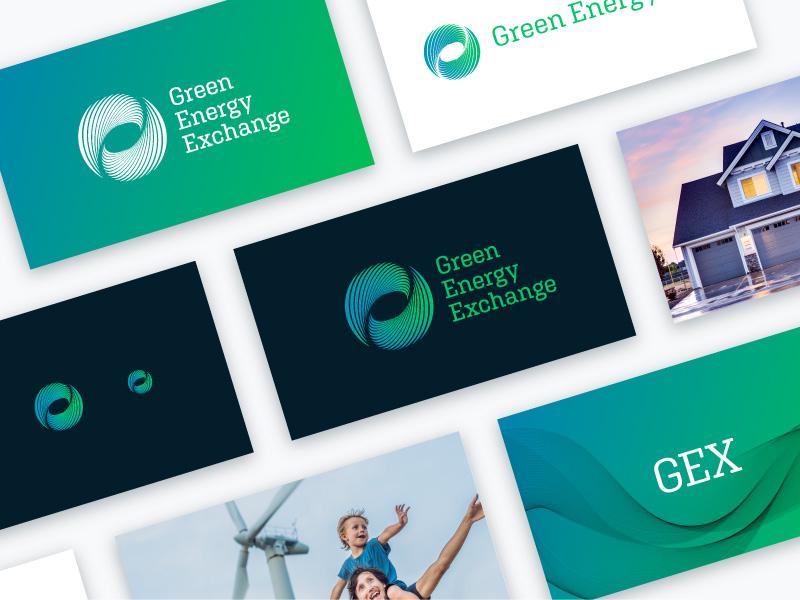 Logo Cards hurricane flowing water waves wind mark lockup cards branding logo black blue energy green