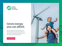 Green Energy Exchange Hero turbine hero homepage website branding hurricane waves water wind flowing blue energy green