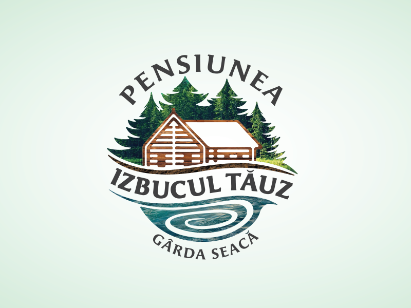Cabin Accommodation Logo nature green agrotourism accommodation wood mountains forest cabin illustration logo