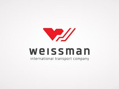 Weissman International Transport logistics spedition transport red truck highway road w logo