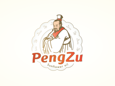 Pengzu Logo plate oil sunflower food character chinese illustration logo