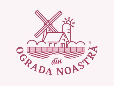 Din Ograda Noastra logo agriculture wind outline mill chiken poultry farming farm