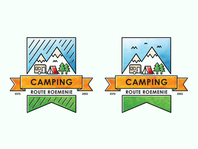 Camping Route Roemenie logo illustration mountains outdoor traveling tent caravan camping artwork
