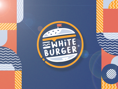 White Burger Identity logo illustration food cheese catering burger beef bbq artwork