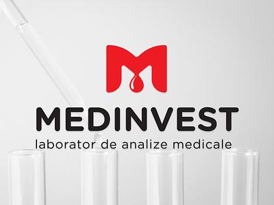 Medinvest Logo laboratory drop test blood medical logo