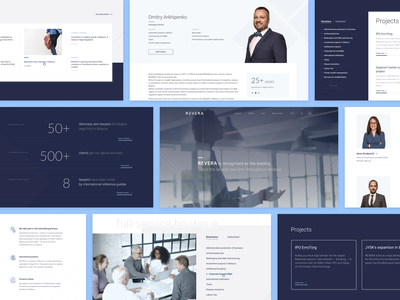 REVERA law firm website product design typography navigation interface team numbers grid minimalistic consulting clean web design screens website corporate blue ux ui law firm lawyer law