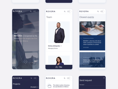 REVERA law firm website team blue corporate clean icons responsive mobile ui lawyer law firm law consulting animation ux ui website product design mobile web design