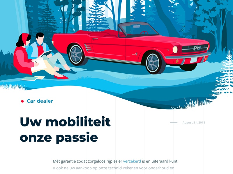 Peerlings corporate ux ui red interface tree forest couple man girl cabriolet mustang car dealer ford concept landing illustration graphics