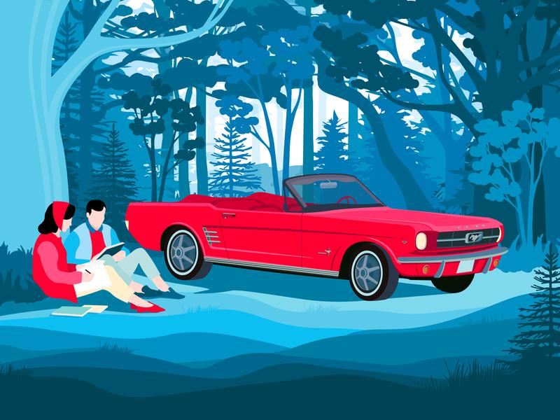 Peerlings design blue tree red mustang man illustration graphics girl forest forв dealer couple car cabriolet