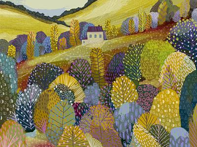 Autumn Vibes art illustration house orange autumn leaves field pattern colorful yellow tree autumn vibes autumn