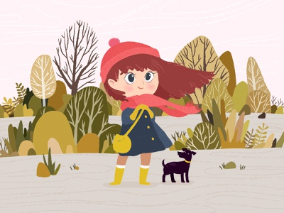 Autumn Vibes nature illustration nature weather flat graphic woman illustration woman big eyes dog food girl character design character yellow trees orange illustration design illustration colorful autumn vibes autumn