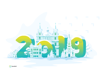 Happy New Year! christmas church old town greeting card congratulation 2019 illustration architecture new year 2019 new year
