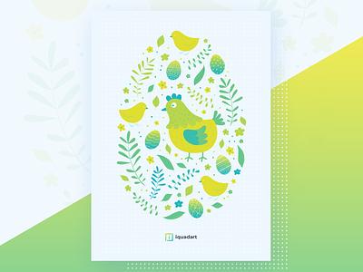 Easter postcard easter 2019 holiday illustraiton chicken hen egg easter egg easter