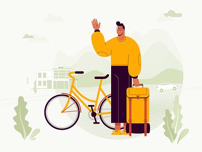 Hello, world! flat travelling traveling travel guy backpack orange tourist traveler bike bicycle man graphics illustration