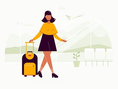 Airport tourism vacation voyage yellow case suitcase plane airplane airport travelling traveling traveler travel tourist orange woman illustration girl graphics flat
