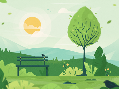 One With Nature breathing relax stress pandemic bench bird tree peaceful product illustration meditation nature mobile app mobile ux ui texture flat drawing vector illustration