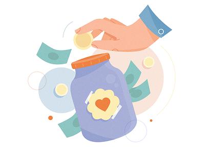 Donate website appreciate love money donate spot illustration product illustration product application app design hand branding icon ux ui texture flat character vector illustration