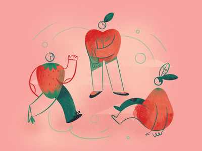 Tutti Frutti procreate strawberry pear apple fruits fruit character design nature man icon girl woman ux ui texture flat drawing character vector illustration