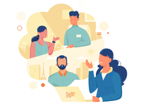 Stay Connected people team communication connection laptop spot illustration website marketing nature man icon girl woman ux ui texture flat drawing vector illustration