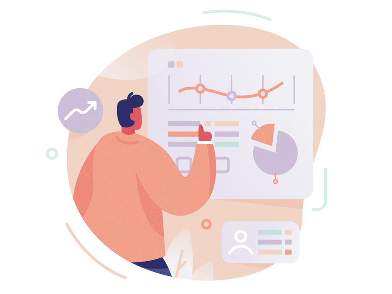 Data analysis scale pastel screen spot illustration compliance graph chart data marketing man icon ux ui texture flat drawing character vector illustration