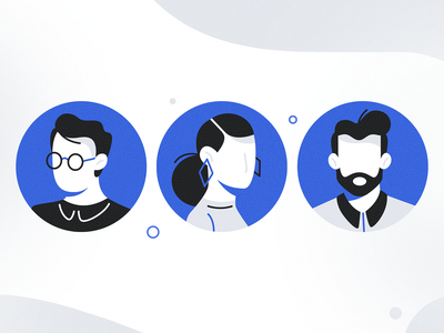 Avatars id card team person figure silhouette simple avatar man icon girl woman ux ui texture flat drawing character vector illustration