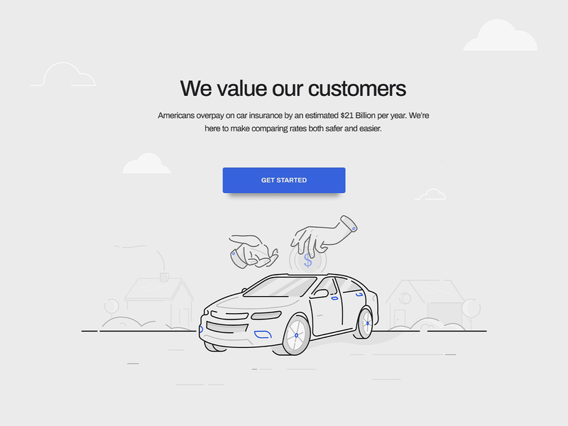 Value city town money flowers trees hands landing page insurance car house nature icon ux ui texture flat drawing character vector illustration