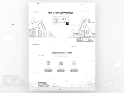 Get a new policy today! buildings house icon design icon line art linework cityscape landscape city car page layout page design page rate policy ux ui flat vector illustration