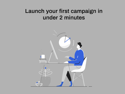 Launch your campaign marketing campaign time clock work workspace character design leads campaign insurance marketing man icon ux ui texture flat drawing character vector illustration