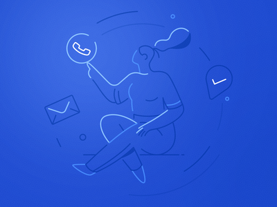 Clicks & Calls mobile notification mail calls clicks leads optimize pitchdeck deck icon girl woman ux ui texture flat drawing character vector illustration