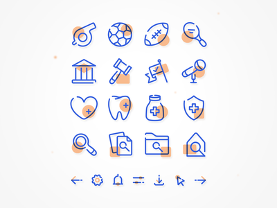 Duotone Icon Set healthcare politics sports insurance navigation symbol lineart linework duotone iconography icon set website app branding icon ux ui flat vector illustration