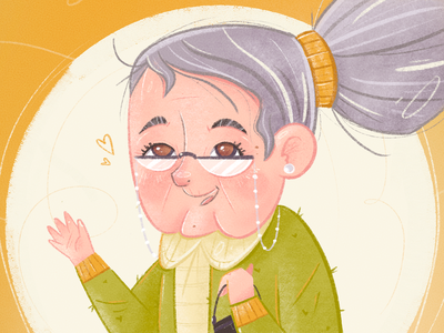 Friendly Granny friendly sweater portrait caricature person clothing hair procreate character design advertising medicare neighbour grandmother granny grandma old lady woman texture character illustration