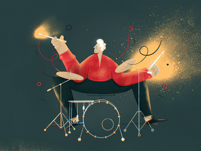 🔥 Ignite 🔥 concert perform performance musician band procreate character design hobby passion spark drummer drums music ignite fire flat drawing character vector illustration