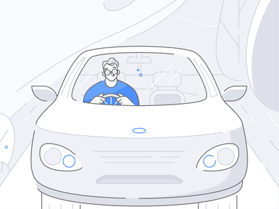 Car Insurance lineart linework mirror street glasses character design road speed driving car insurance nature man ux ui texture drawing character vector illustration