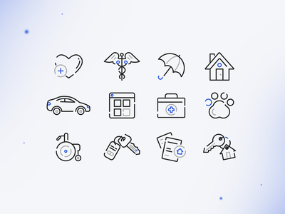 Insurance Icons love care animal pet coverage medigap medicare medication health life rent insurance car house line art linework icon design icon illustration vector