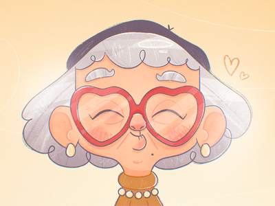 Granny Loves You caricature character design family pearls valentines day valentines valentine cute glasses heart love grandma granny woman texture flat drawing character vector illustration