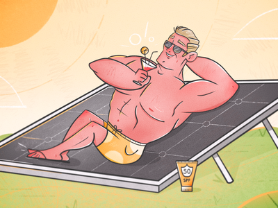 Don't forget your sunscreen! cocktail nature spf sun screen funny renewable energy solar panel solar power sun summer tanning muscle guy dude character design caricature man drawing character illustration