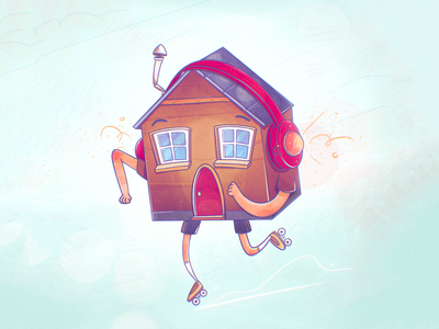 Insured Home groovy cool funky window bulding caricature character design headphones music roller skate house procreate insurance home texture flat drawing character vector illustration