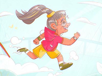Jog speed sport headphones marathon caricature character design dynamic elderly old lady lady granny grandma sports jogging jog running run drawing character illustration
