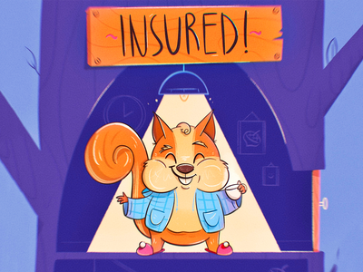 Insured! caricature characterdesign character acorn house coffee interior cute animal slippers cozy squirrel tree home insurance drawing illustration