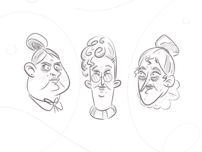 Memorable Ladies elderly lineart lines simple facial expressions face chubby woman sketching head expression funny grandma lady sketch character design cartoon drawing character illustration