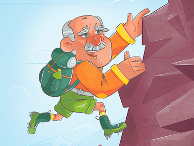 Living on the edge guy man extreme cartoon caricature character design insurance medicare adrenaline mountain climbing mountain rocks climbing elderly grandparent grandpa texture drawing character illustration