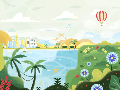 Ocean sky birds trees balloon flowers swimming sailing boat san diego city palms hut fish ocean field landscape ux ui vector illustration