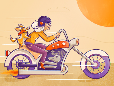 Be Wild desert sunset skull crazy wild friend cute pet grandma gran granny dog biking motorcycle bike woman texture character illustration